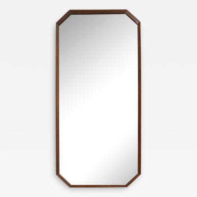 Italian 1960s Rosewood Octagonal Wall Mirror