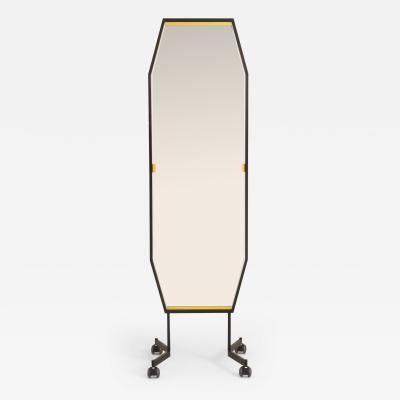 Italian 1960s black metal free standing mirror on wheels