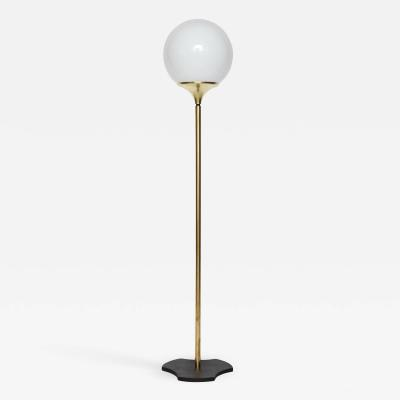 Italian 1960s floor lamp with opaline glass globe fixture