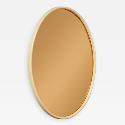 Italian 1970s Lacquered and Rose Gold Glass Oval Mirror