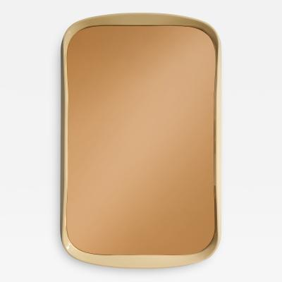 Italian 1970s Lacquered and Rose Gold Glass Rectangular Mirror