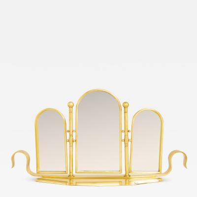 Italian 1970s brass dressing table mirror