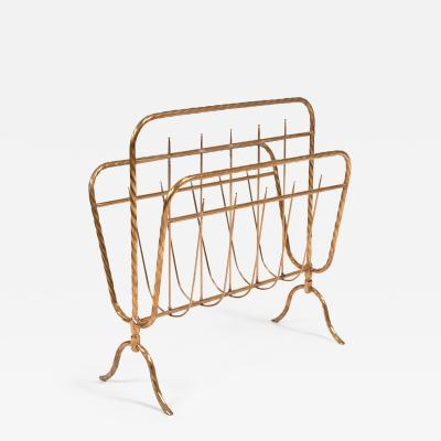 Italian 1970s brass magazine rack