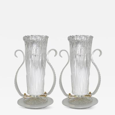 Italian 1980s Art Deco Design Pair of White and Clear Murano Glass Lamps