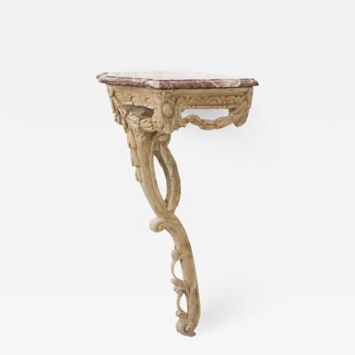 Italian 19th Century Carved Demi Lune Marble Top Console Table