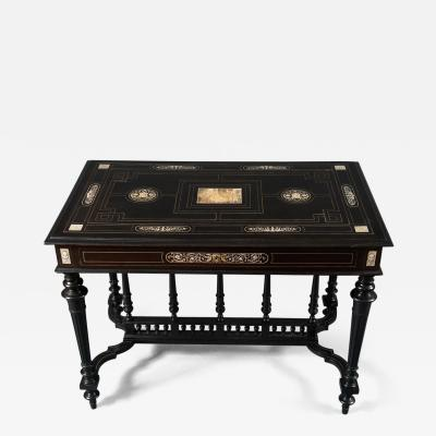 Italian 19th Century Ebony Table with Bone Inlay