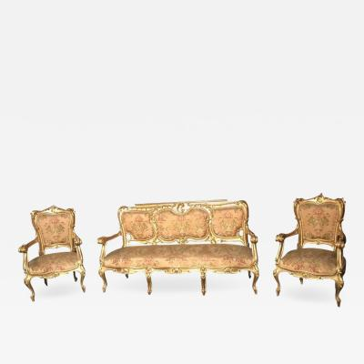 Italian 19th Century Gilt Living Room Suite with a Sof and Pair of Armchairs