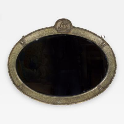 Italian 20th C Hammered Metal Mirror with Bas Relief