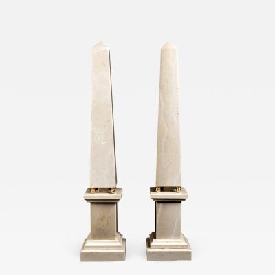 Italian 20th Century Pair of Cream Marble Obelisks with Gold Bronze Spheres