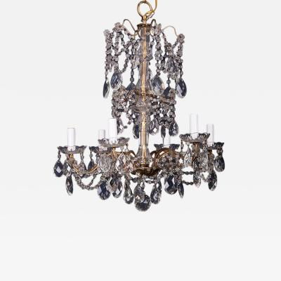 Italian 6 Light Crystal Chandelier With Large Drops