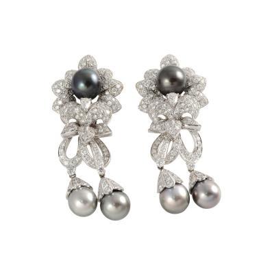Italian 7 40 CTW Diamond and Tahitian Pearl Earrings