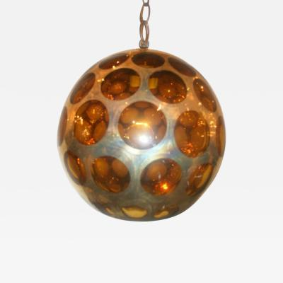Italian Amber and Gilt Glass Lantern