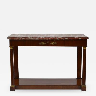 Italian Antique Classical Mahogany Marble Top Console Table circa 1820