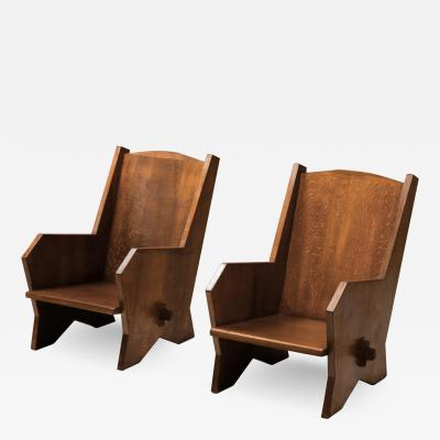 Italian Armchairs in Stained Beech 1940s