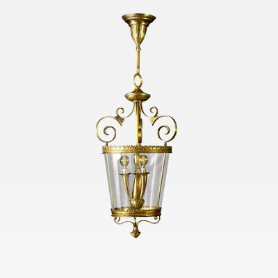 Italian Art Deco Brass Lantern or Pendant 1940s