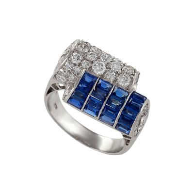Italian Art Deco Diamond Sapphire and Platinum Ring