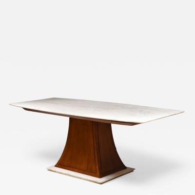 Italian Art Deco Dining Table with Marble Top Japan Inspired 1940s