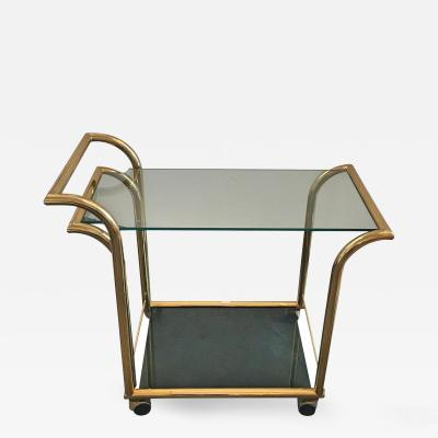 Italian Art Deco Inspired Two Tier Brass and Glass Bar Cart