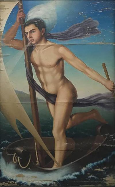 Italian Art Deco Painting Aeolus circa 1930