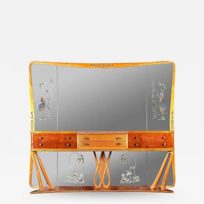 Italian Art Deco Sideboard Console Table with Mirror Attributed to Borsani 1940