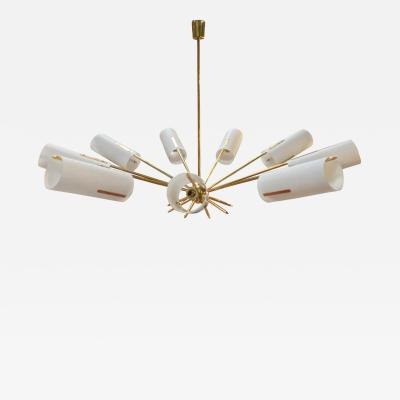 Italian Atomic Chandelier in Brass with Milk Glass Cylinders 1950s