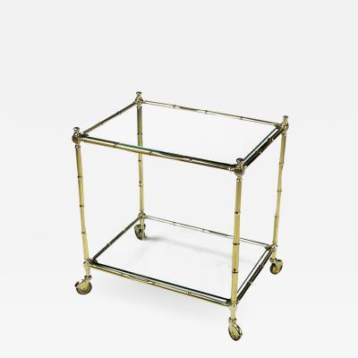 Italian Bamboo Form Brass Bar Cart Circa 1960s