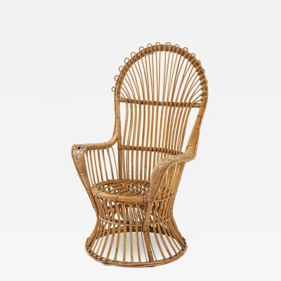 Italian Bamboo and Rattan High Back Armchair