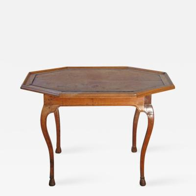Italian Baroque 18th Century Octagonal Walnut and Leather Inset Center Table
