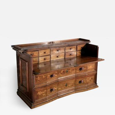 Italian Baroque Inlaid Early 18th Century Walnut and Fruit Wood Desk Commode