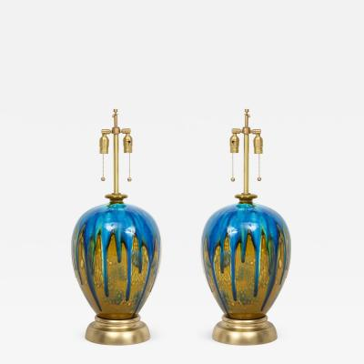 Italian Blue Green Drip Glaze Lamps