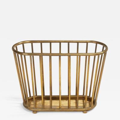 Italian Brass Dowel Basket Magazine Stand for Gumps
