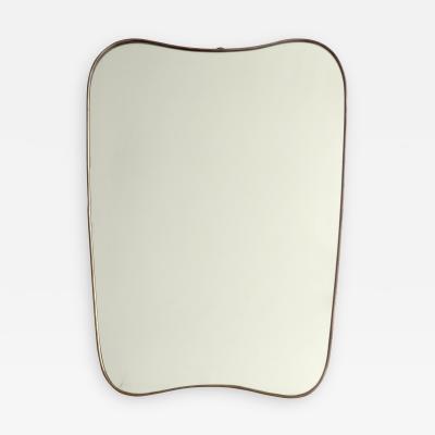 Italian Brass Framed Curved Shield Shape Mirror