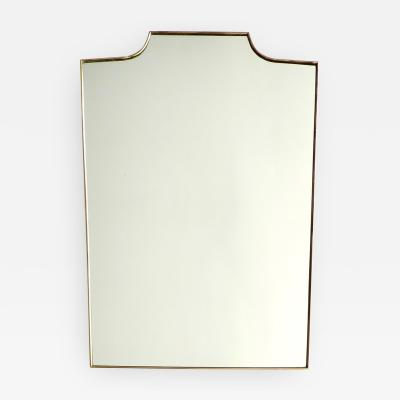 Italian Brass Framed Mirror With Square Shouldered Shield form