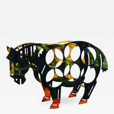 Italian Brass Horse Motif Wine Rack
