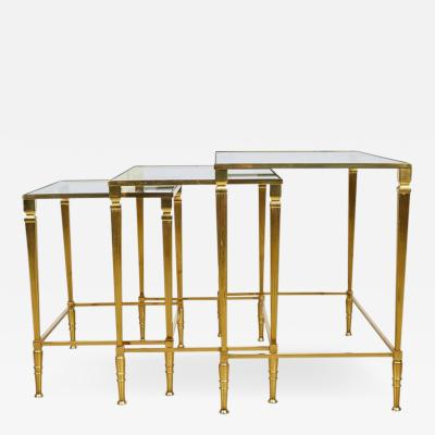 Italian Brass Nesting Tables Set of Three circa 1950