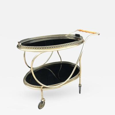 Italian Brass and Bamboo Two Tier Bar Cart