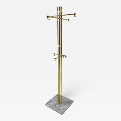 Italian Brass and Marble Coat Rack 1950s