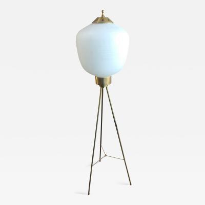 Italian Brass and Rare Opaline Glass Shape Tripod Floor Lamp 1950s