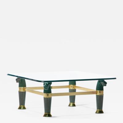 Italian Bronze Brass Panther Head Coffee Table c 1980