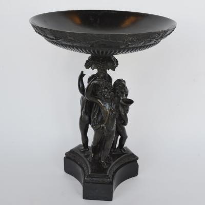 Italian Bronze and Black Marble Bacchanalian Figural Tazza Early 19th Century