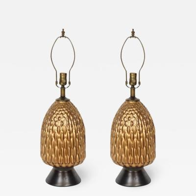 Italian Bronze and Coppered Glass Artichoke Lamps