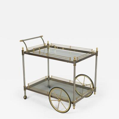 Italian Brushed Nickel Brass Bar Cart