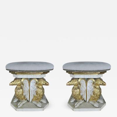 Italian Carved Griffin Painted and Parcel Gilt Stools Pair