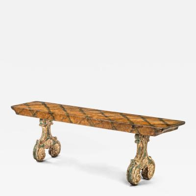 Italian Carved and Painted Wooden Bench