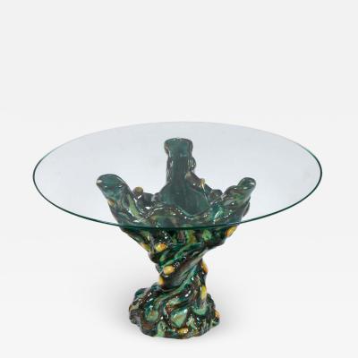 Italian Ceramic Glass Top Occasional Table