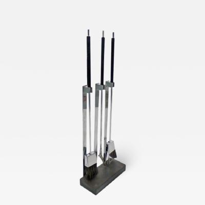 Italian Chrome Plated Fireplace Tool Set