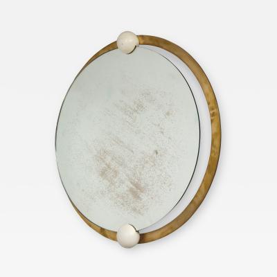 Italian Circular Brass and Wood Mirror