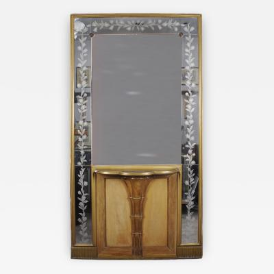 Italian Console with Tall Etched Mirror circa 1940s