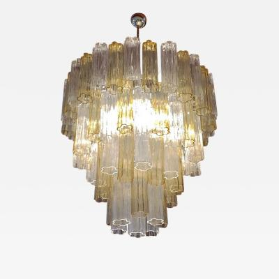 Italian Contemporary Amber Crystal Clear Murano Glass Tronchi Star Chandelier