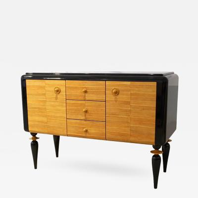 Italian Contemporary Art Deco Design Black Lacquered Yellow Leather Sideboard